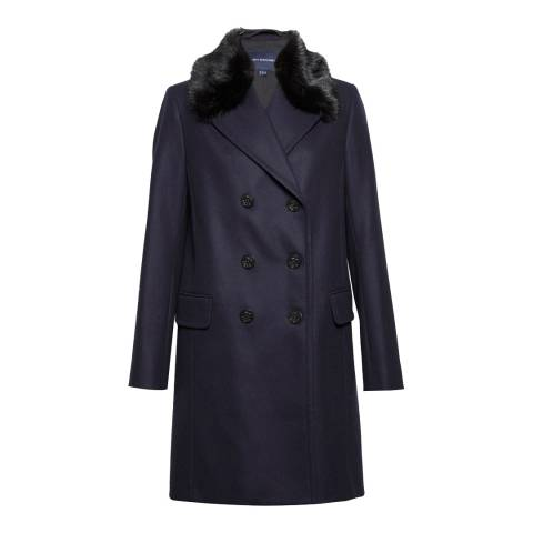 French Connection Utility Blue Platform Felt Double Breasted Faux Fur Collar Coat