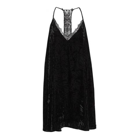 French Connection Black Lorraine Velvet Strappy Slip Dress