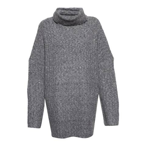 French Connection Dark Grey Riva Rib Knit High Neck Jumper