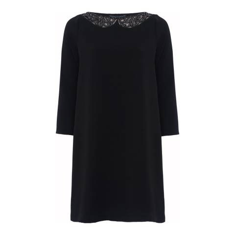 French Connection Black Eliza Crepe Long Sleeve Tunic Dress