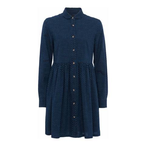 French Connection Indigo Cross Long Sleeved Gathered Shirt Dress