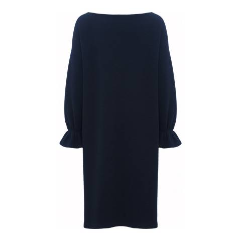 French Connection Utility Blue Ellen Texture Long Sleeve Dress
