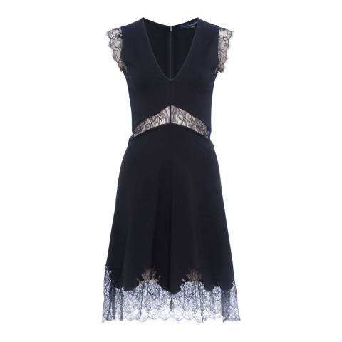 French Connection Black Lora Beau Jersey V Neck Dress