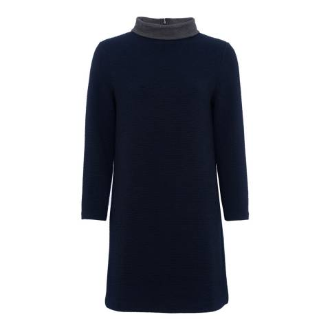 French Connection Utility Blue/Grey Ellen Texture High Neck Dress