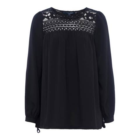 French Connection Black Shirley Crepe Light Long Sleeve Round Neck Top