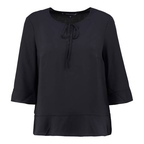 French Connection Black Classic Tie Neck Top
