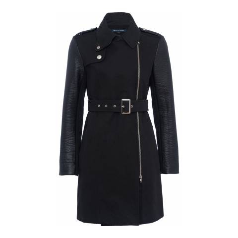 French Connection Black PU Long Sleeve Trench Coat