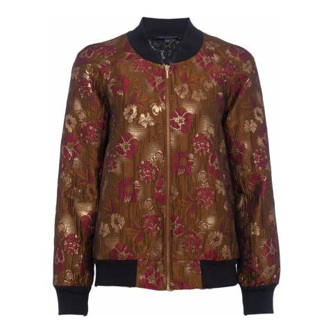 French Connection Gold Oma Jacquard Bomber Jacket