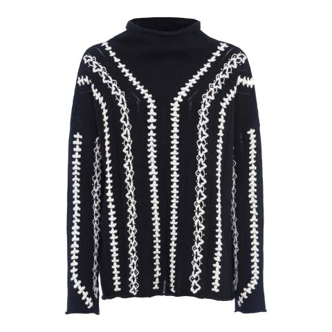 French Connection Black/White Ella Embroidered Wool Blend Jumper