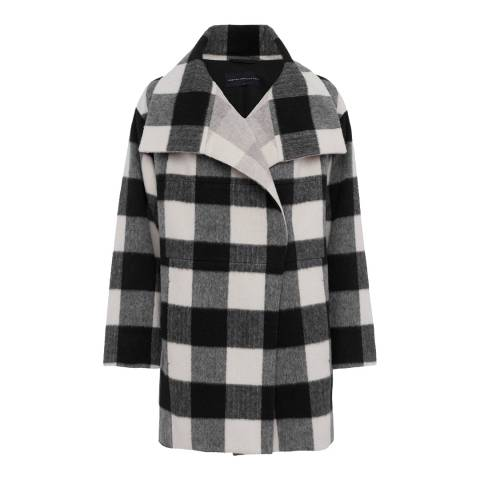 French Connection Black/White Jackie Checked Wide Collar Coat