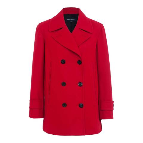 French Connection Cranberry Crunch Platform Felt Double Wool Blend Breasted Coat