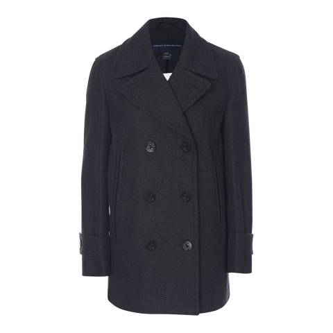 French Connection Mid Grey Platform Felt Double Breasted Coat