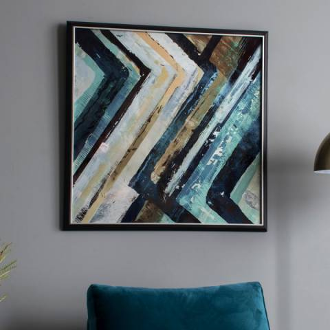 Gallery Blue/Black Arcadia Abstract Framed Wall Art 79x79cm