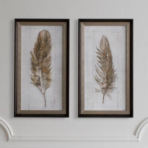 Gallery Set of 2 Autumn Feather Framed Art