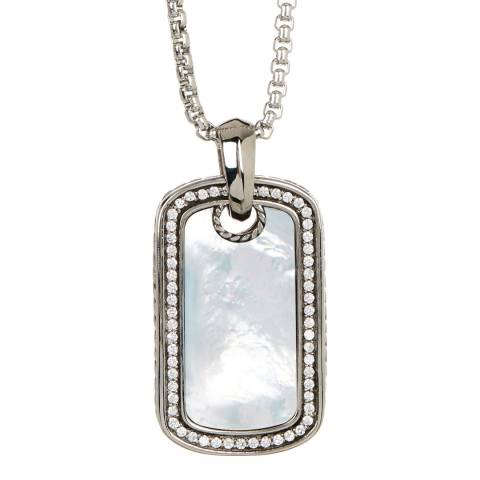Stephen Oliver Silver/Pearl/White Cz Reversible Pendant Necklace