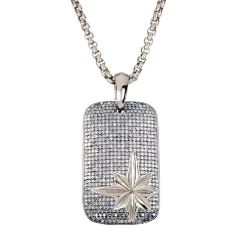 Stephen Oliver Silver Double Sided Zirconia Star Dog Tag Necklace