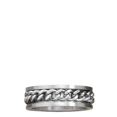 Stephen Oliver Silver Oxidized Cable Chain Ring
