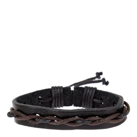 Stephen Oliver Black/Brown Leather Woven Bracelet