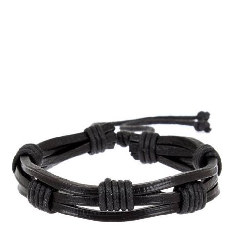 Stephen Oliver Black Leather Bracelet