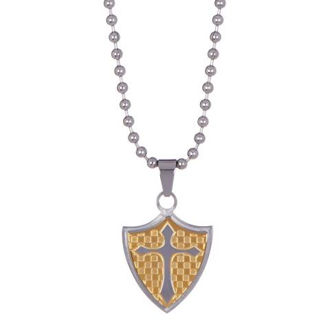 Stephen Oliver Gold/Silver Shield Cross Pendant Necklace