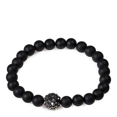 Stephen Oliver Matte Black Onyx & Crystal Bracelet