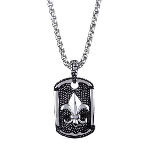 Stephen Oliver Silver Fleur De Lis Dog Tag Pendant Necklace