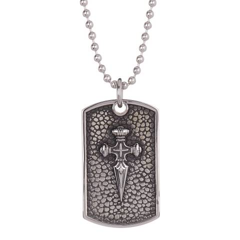 Stephen Oliver Oxidized Textured Silver Sword Dog Tag Necklace