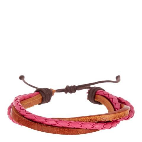 Stephen Oliver Red/Brown Leather Bracelet