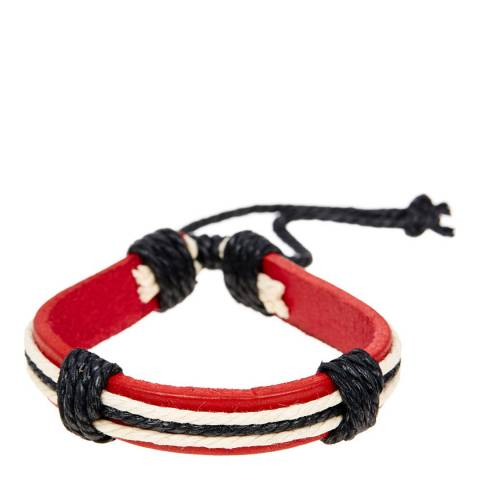 Stephen Oliver Red Leather & Black Stripe Bracelet