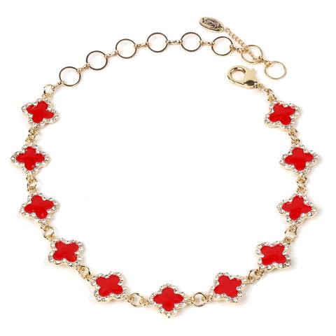 Amrita Singh Red Noho Enamel Clover Choker/Collar