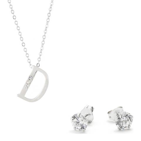 MUSAVENTURA Silver Crystal 'D' Necklace And Earrings