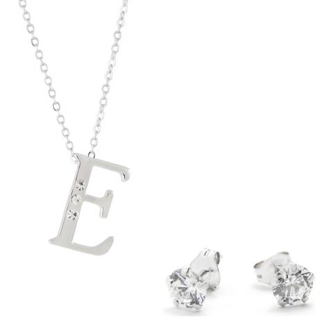 MUSAVENTURA Silver Crystal 'E' Necklace And Earrings