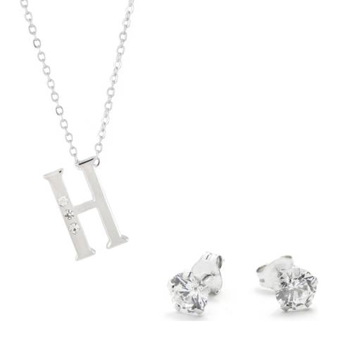 MUSAVENTURA Silver Crystal 'H' Necklace And Earrings