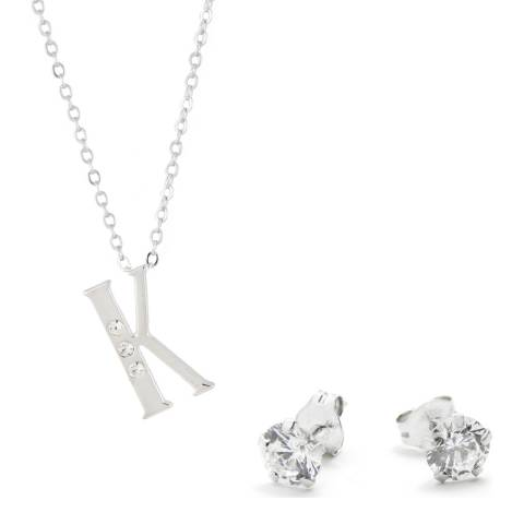 MUSAVENTURA Silver Crystal 'K' Necklace And Earrings
