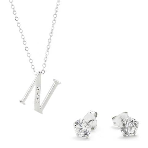 MUSAVENTURA Silver Crystal 'N' Necklace And Earrings