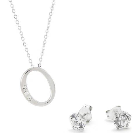 MUSAVENTURA Silver Crystal 'O' Necklace And Earrings