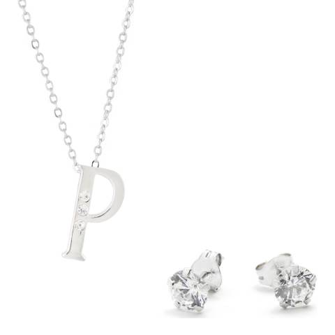 MUSAVENTURA Silver Crystal 'P' Necklace And Earrings