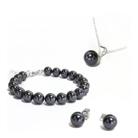 MUSAVENTURA Silver And Black Pearl Necklace And Earring Set
