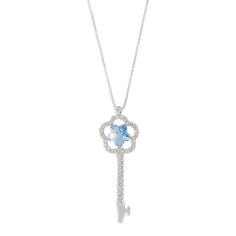 MUSAVENTURA Silver And Blue Crystal Key Necklace