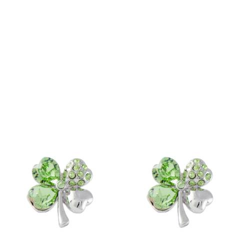MUSAVENTURA Silver And Green Clover Earrings