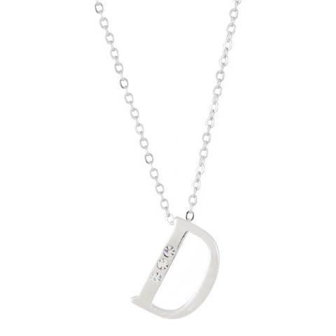 MUSAVENTURA Silver Crystal 'D' Necklace
