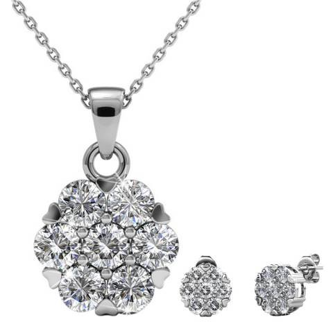 MUSAVENTURA Silver Crystal Circle Necklace And Earrings Set