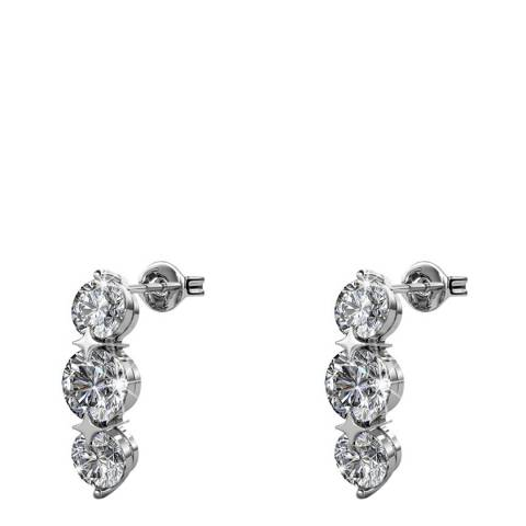 MUSAVENTURA Silver Three Crystal Earrings