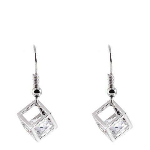 MUSAVENTURA Silver Square Crystal Earrings