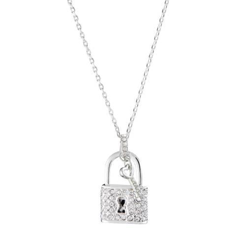 MUSAVENTURA Silver Padlock Crystal Necklace