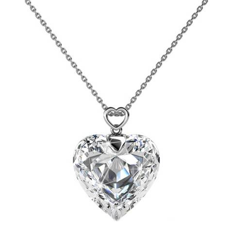 MUSAVENTURA Silver Heart Shaped Crystal Necklace