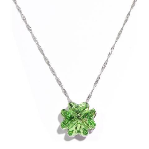MUSAVENTURA Silver Lucky Clover Green Crystal Necklace