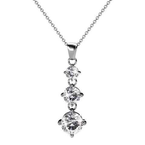 MUSAVENTURA Silver Three Crystal Pendant Necklace