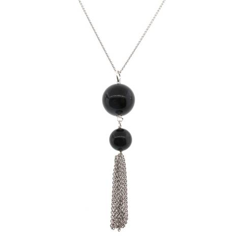 Alexa by Liv Oliver Silver Onyx Drop Necklace