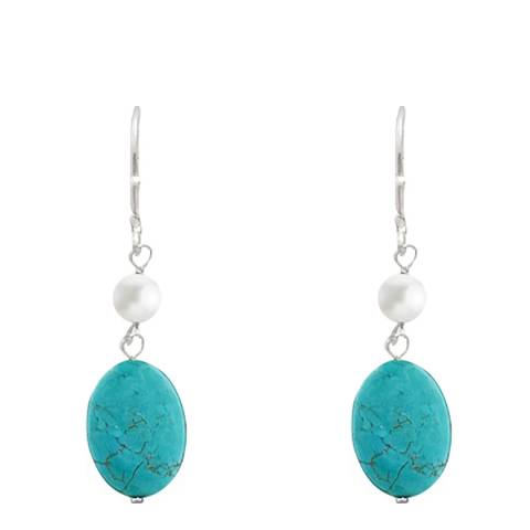 Alexa by Liv Oliver Turquoise/White/Silver Sterling Silver Pearl and Turquoise Drop Earrings